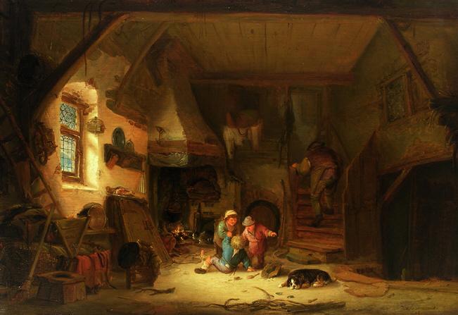 1641: Bauernhaus mit spielenden Kindern